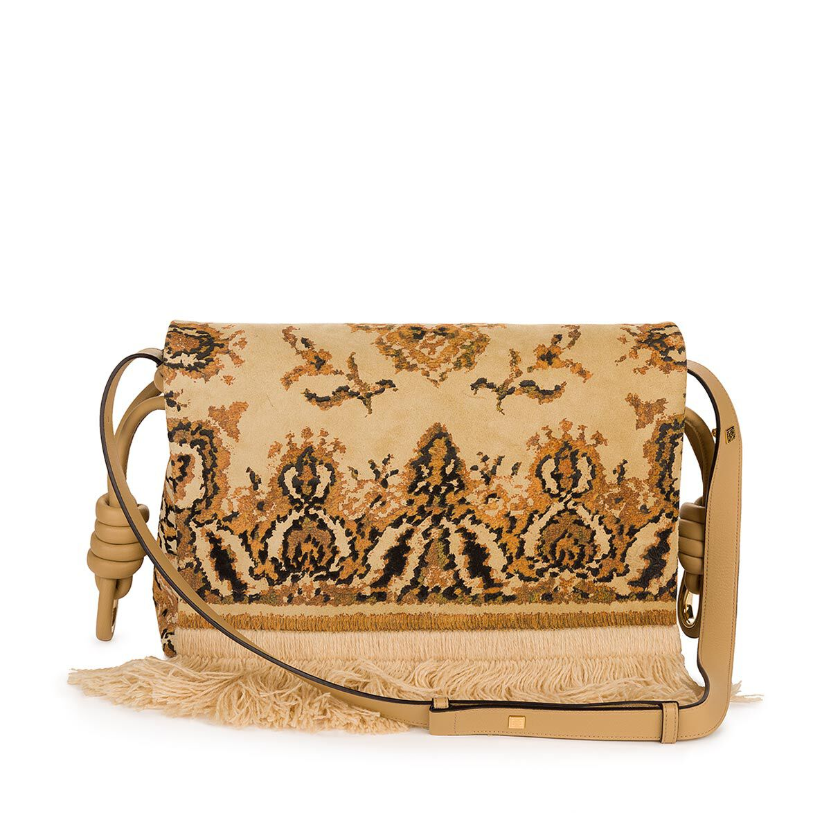 loewe flamenco flap tapestry bag gold multitone all