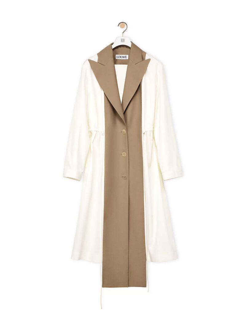 Peak Lapel Bimaterial Coat