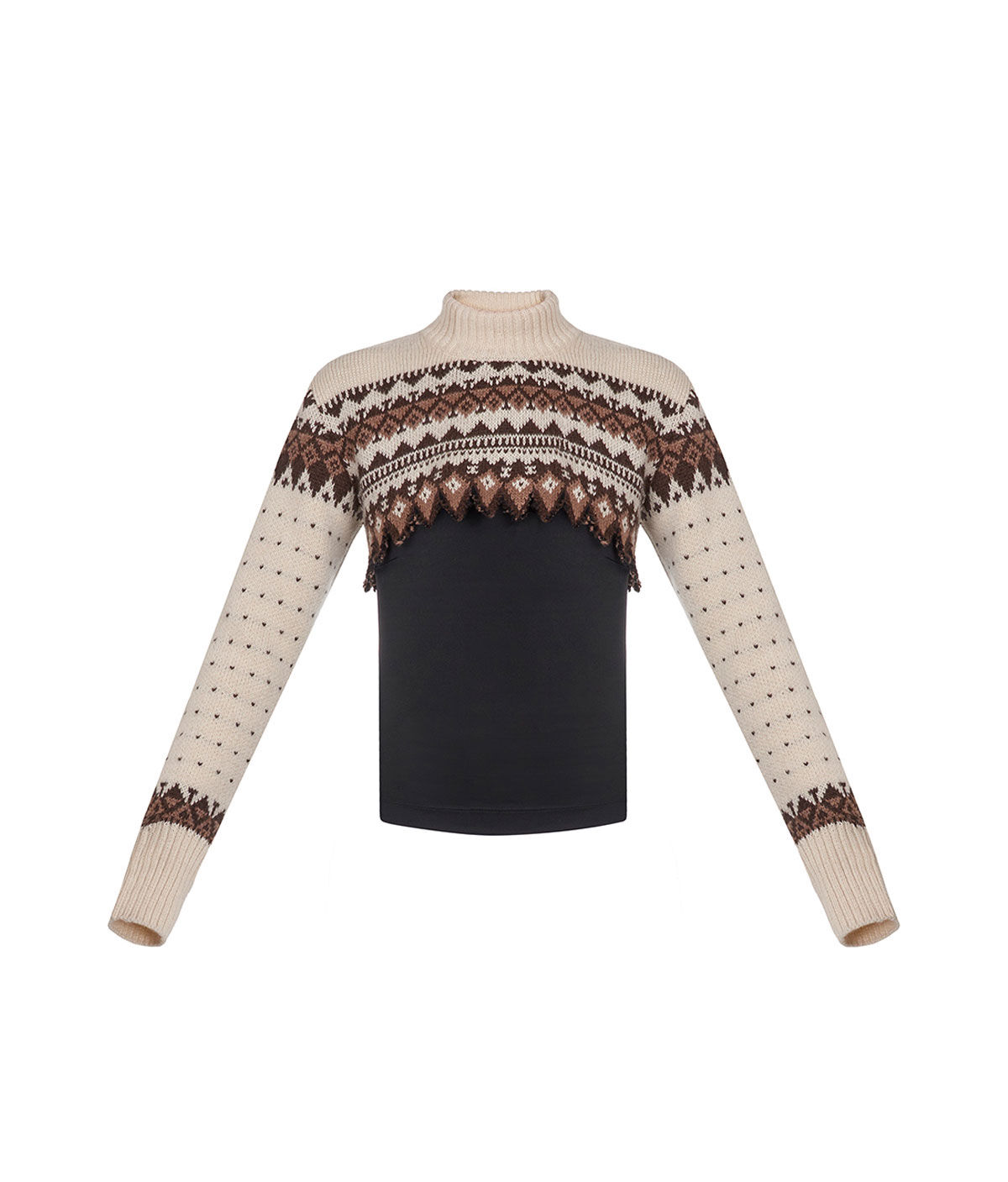 Cropped Jacquard & Jersey Top