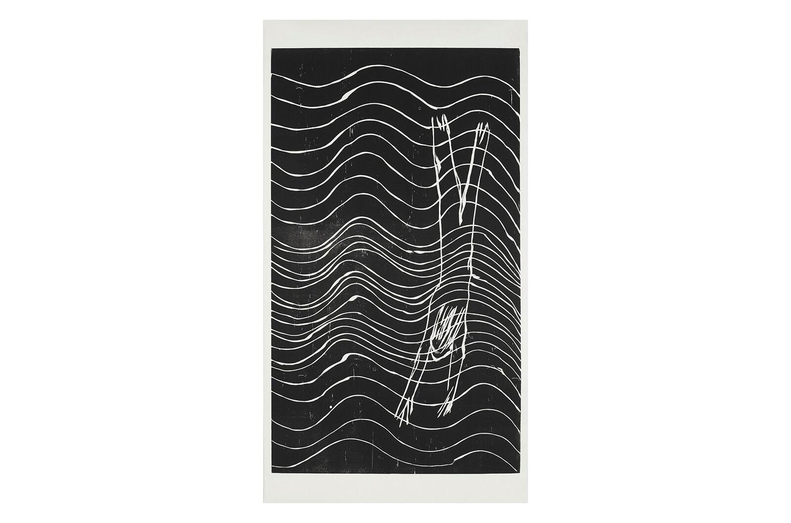 """Diver"", woodcut on Japaneese paper 218x117.5 cm, 2017"