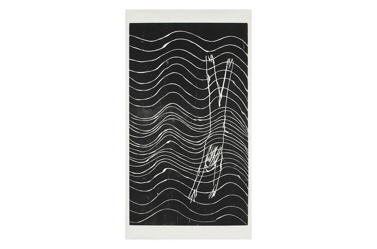 """""""Diver"""", xilografía en papel japonés 218x117.5 cm, 2017"""
