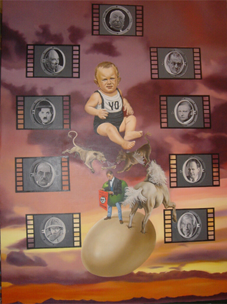 """The great planetary cinema"" oil on canvas. Painting ""Yo"" by Fernando Martin Félez and sketch by Fernando Arrabal."