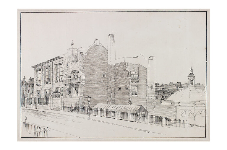 """""""Perspective drawing of Glasgow School of Art from the north-west"""",1899-1906"""