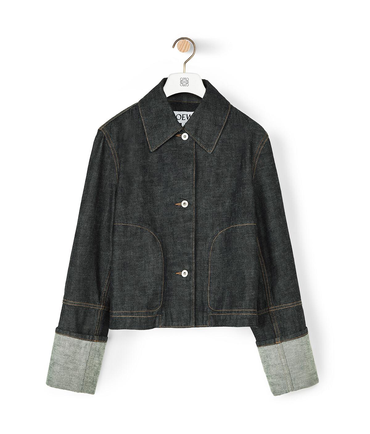 LOEWE Denim Cropped Jacket Indigo front