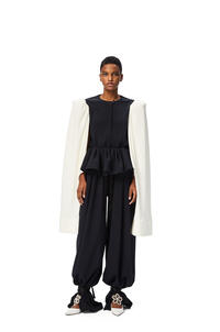 LOEWE Tie trousers in polyester and viscose Navy Blue/Black pdp_rd