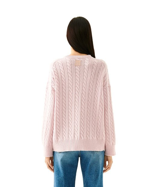 LOEWE Cable Crewneck Sweater Baby Pink front