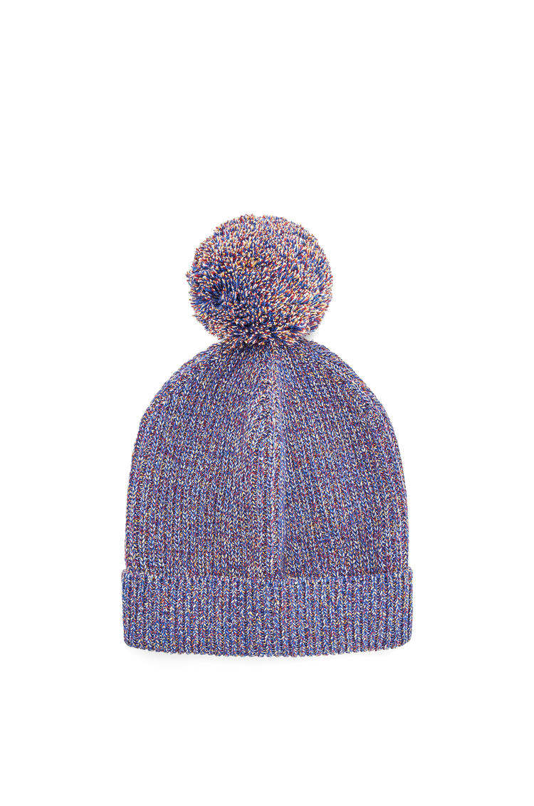LOEWE Melange Knit Beanie In Cotton Navy Blue pdp_rd