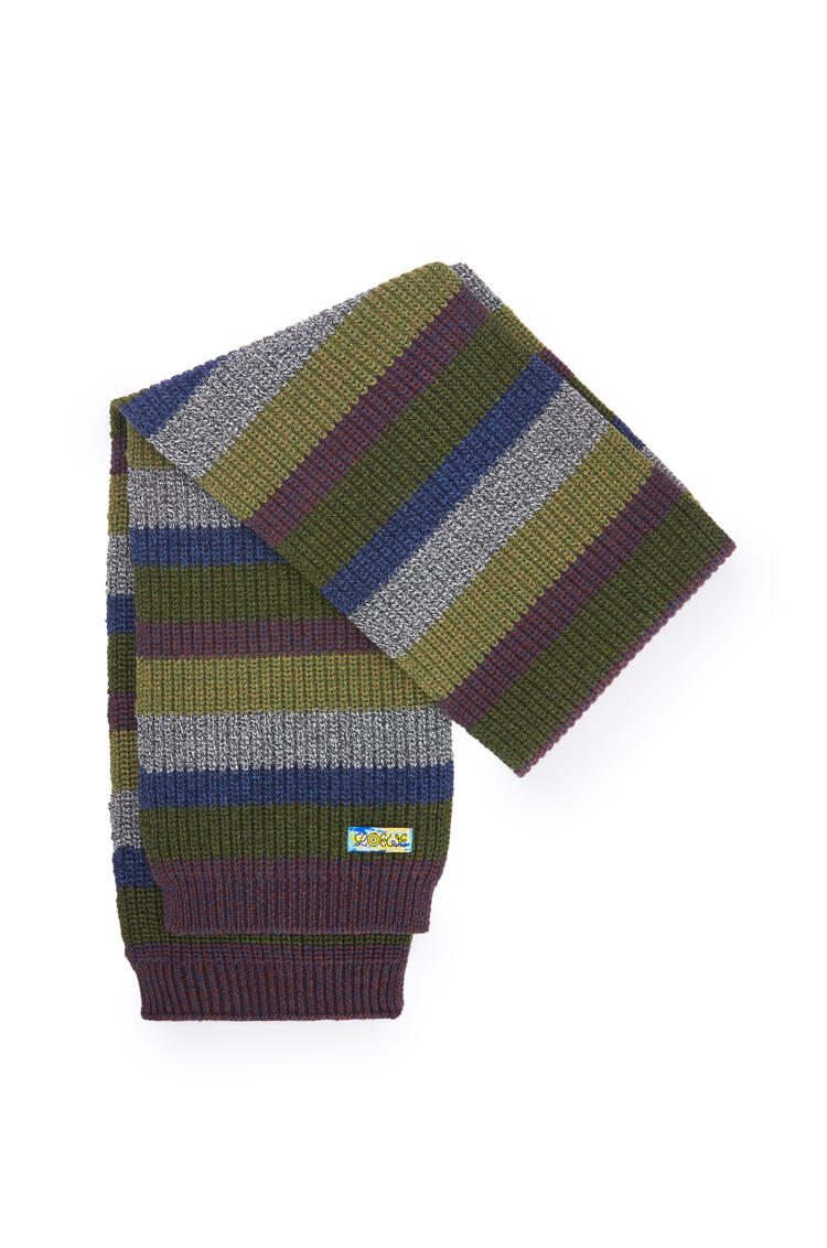 LOEWE Knitted scarf in wool Khaki Green/Grey pdp_rd