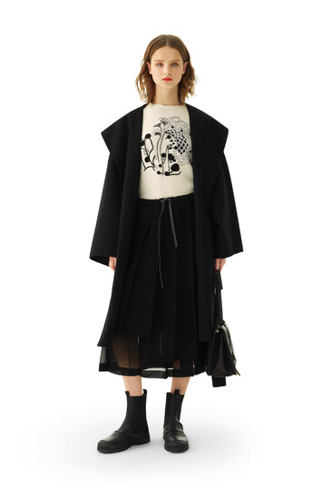 LOEWE Hooded Coat Black front