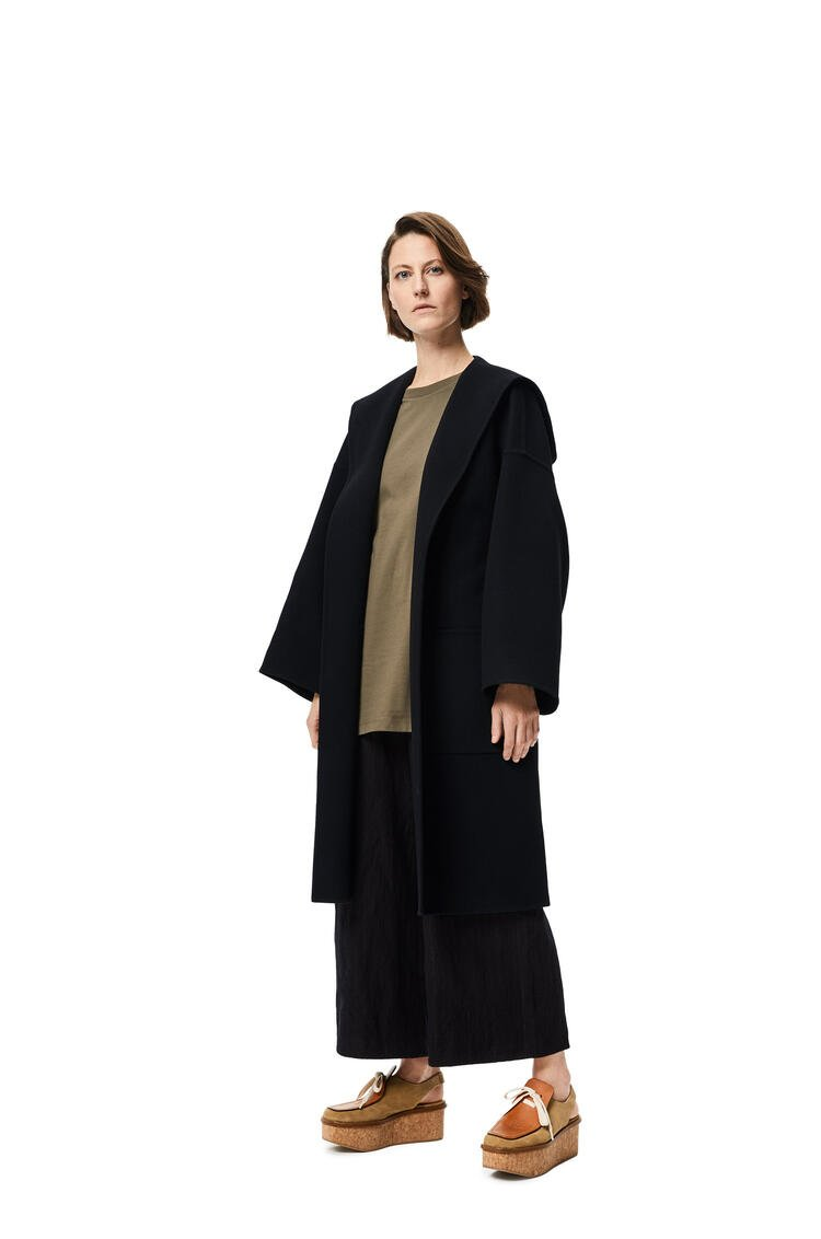 LOEWE Hooded belted coat in wool and cashmere Black pdp_rd