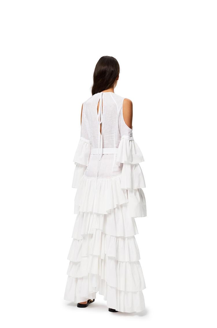LOEWE Ruffle dress in linen White pdp_rd