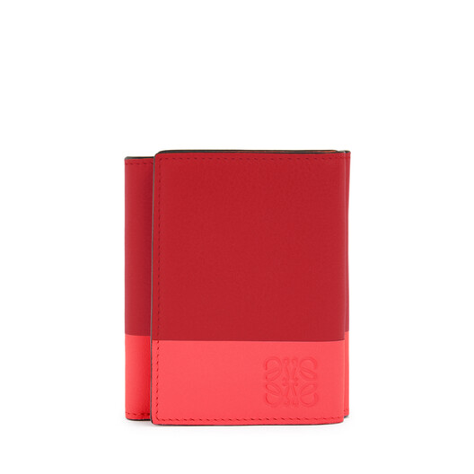LOEWE Color Block Trifold Wallet Pomodoro/Poppy Pink front