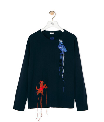 LOEWE Sweater Crochet Animals Navy Blue front