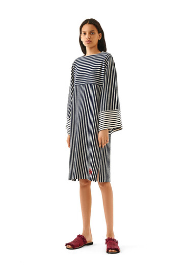 LOEWE Stripe Jersey Dress Navy Blue/Ecru front