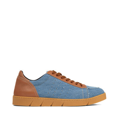 LOEWE Sneaker Tan & Denim Blue Denim/Tan front