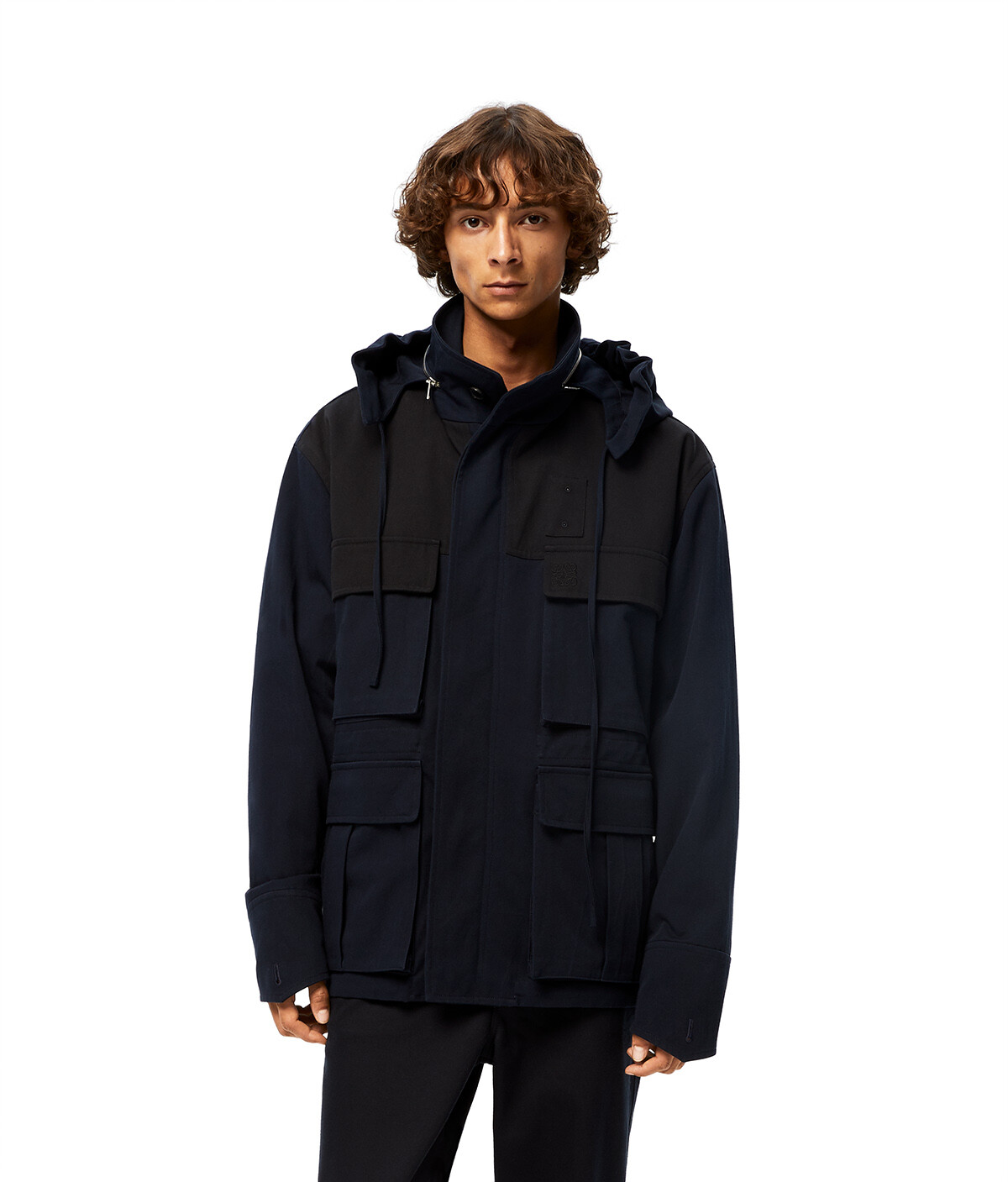 LOEWE Patch Pocket Hooded Parka 海軍藍 front