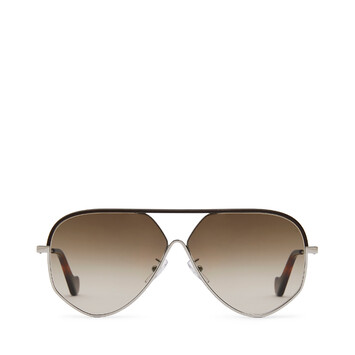 LOEWE Pilot Leather Sunglasses Rhodium/Rhodium/Khaki Green front