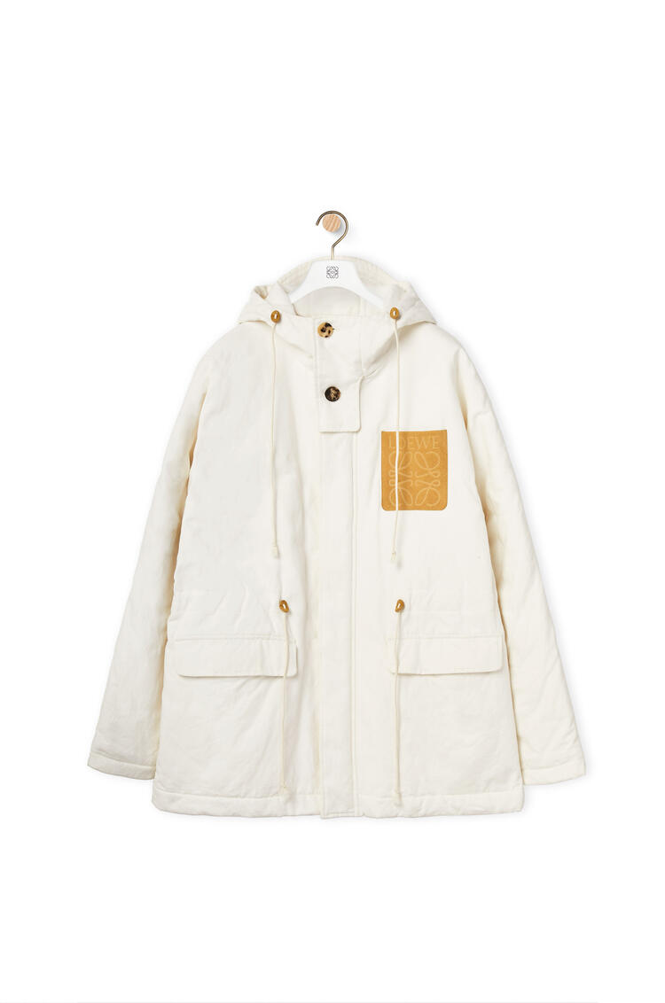 LOEWE Quilted hooded parka in cotton White Ash pdp_rd