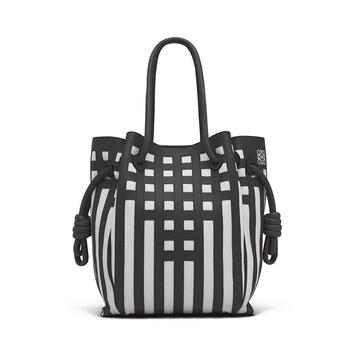 1011ce181bd9 LOEWE Flamenco Knot Tote Grid S Bag Black White front