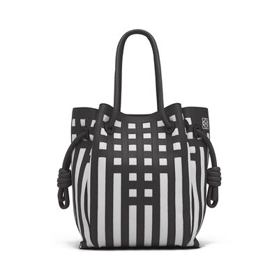 LOEWE Flamenco Knot Tote Grid S Bag Black/White front