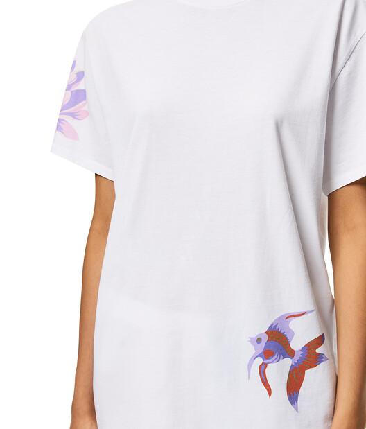 LOEWE Camiseta De Algodón Con Estampado De Sirenas Blanco front