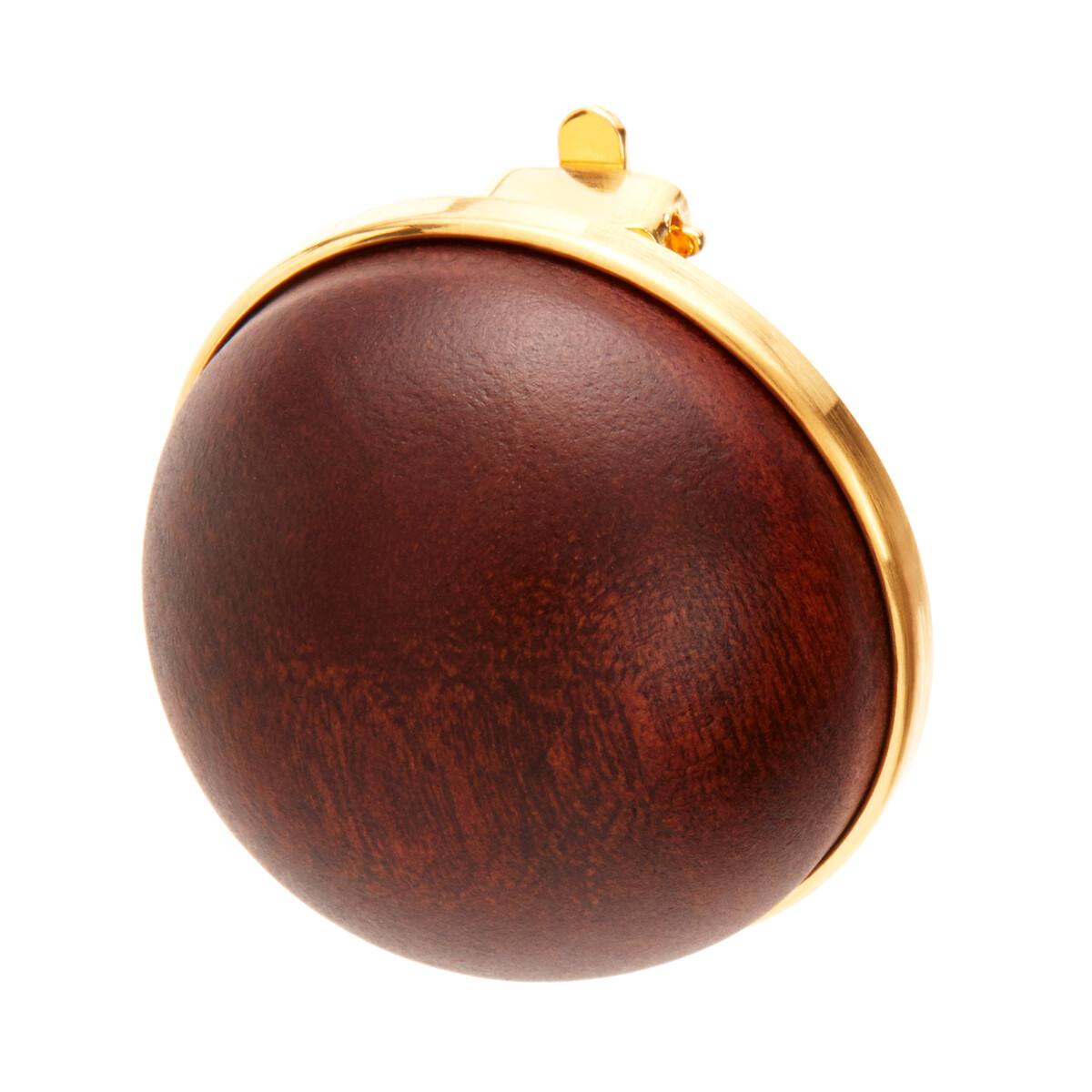 LOEWE Globe Earrings Wood Brown front