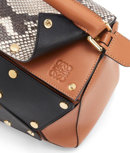 LOEWE Puzzle Multi Patch Bag Tan/Natural front