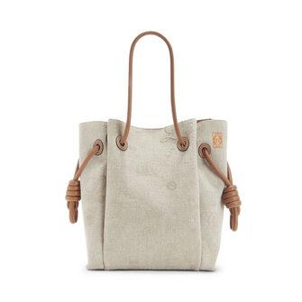 LOEWE Flamenco K Tote Logos S Bag 原色/棕褐色 front