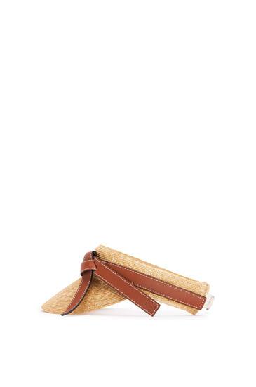 LOEWE 稻草和小牛皮 Gatre 遮阳帽 原色/棕褐色 pdp_rd