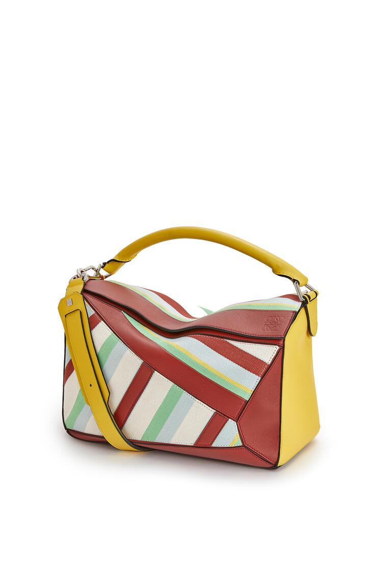 LOEWE Bolso Puzzle grande en lona y piel de ternera Amarillo/Multicolor pdp_rd