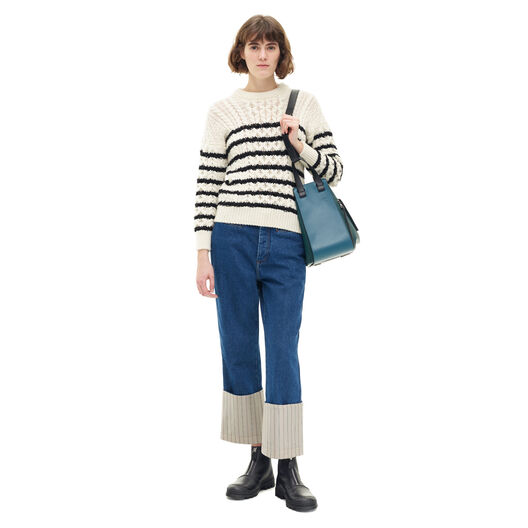 LOEWE Stripe Cable Knit Sweater Blanco/Negro all