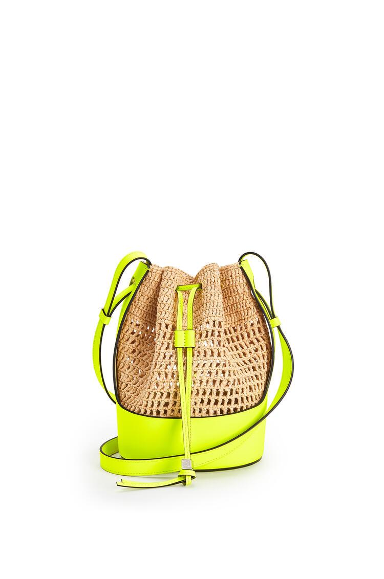 LOEWE 小号酒椰纤维和小牛皮 Balloon 手袋 Natural/Neon Yellow pdp_rd