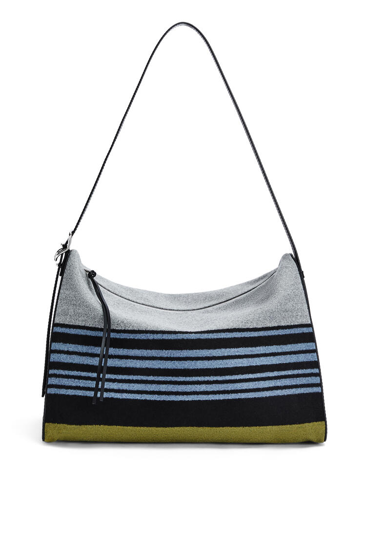 LOEWE Large Berlingo bag in striped textile and calfskin Blue/Black pdp_rd