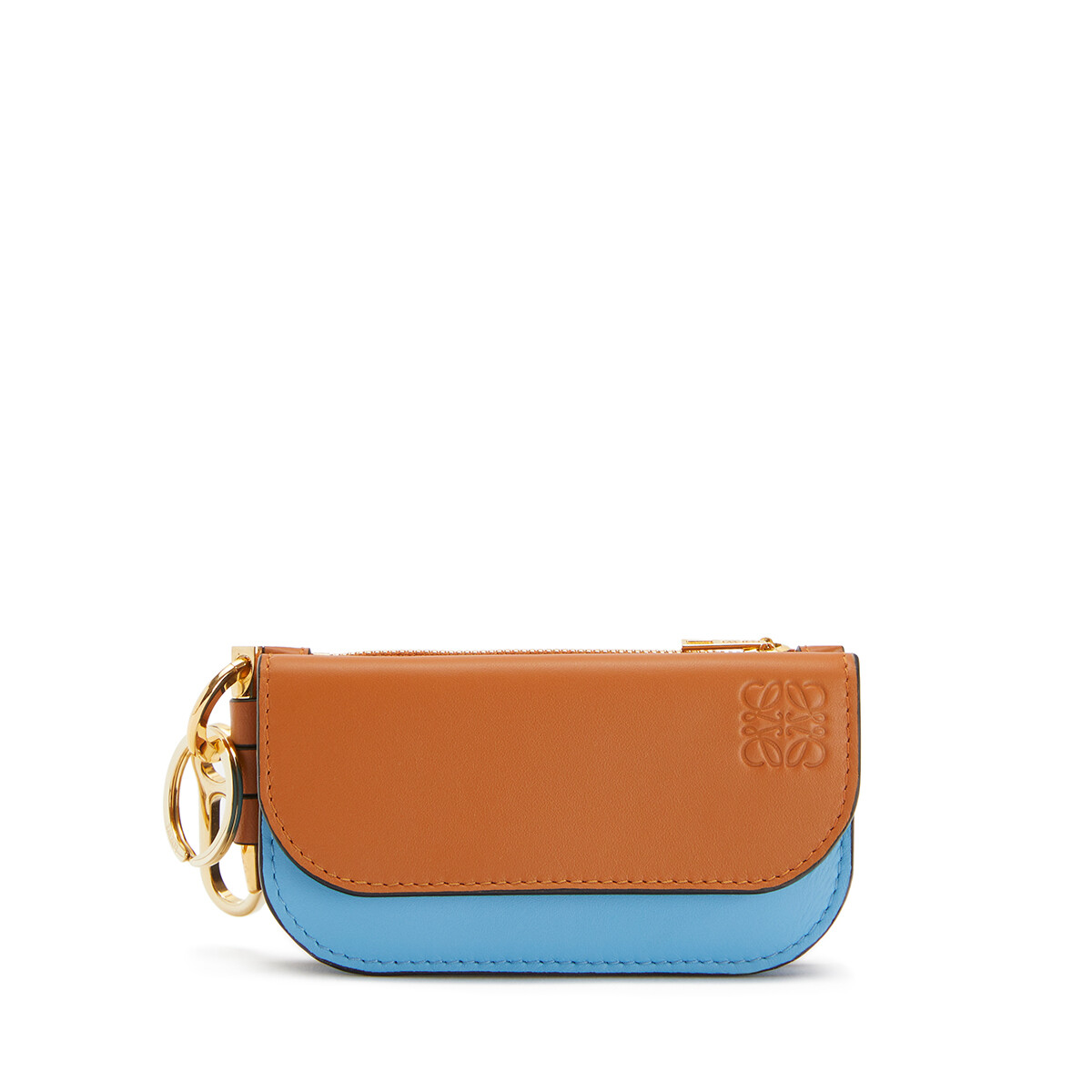 LOEWE Gate Mini Wallet Tan/Sky Blue front
