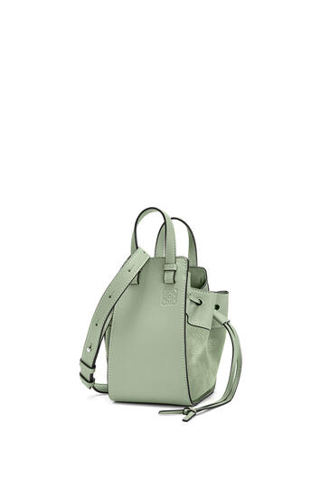 LOEWE Mini Hammock Drawstring bag in calfskin and nubuck Pale Green pdp_rd
