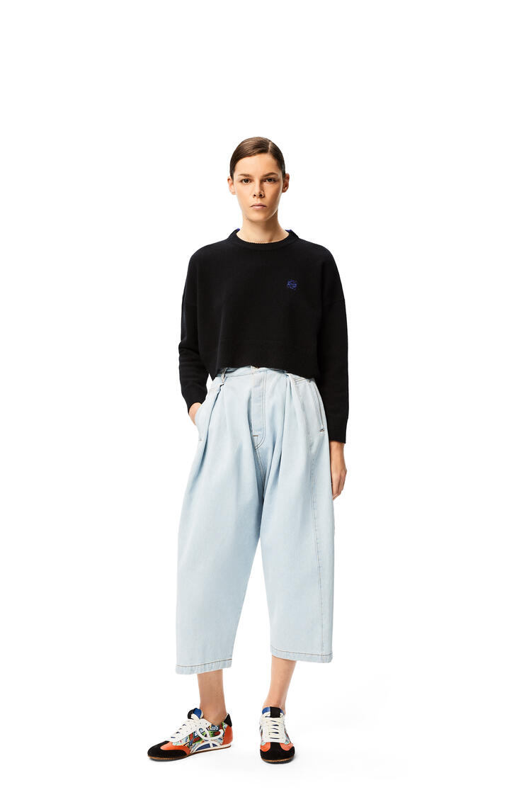 LOEWE Anagram embroidered cropped sweater in wool Black pdp_rd