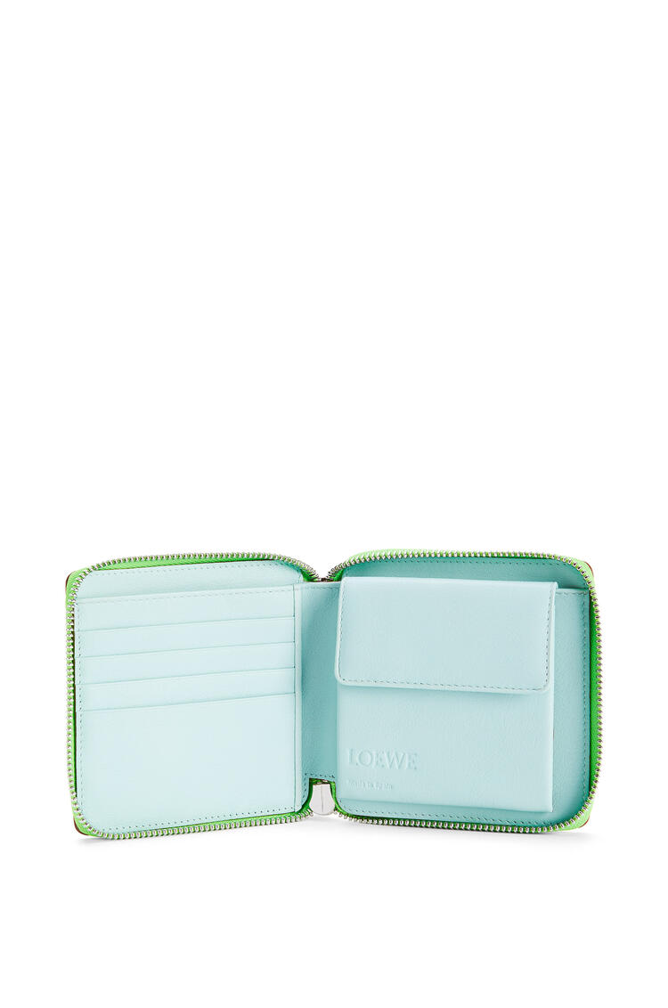 LOEWE Puzzle square zip wallet in classic calfskin Lagoon Blue/Blueberry pdp_rd