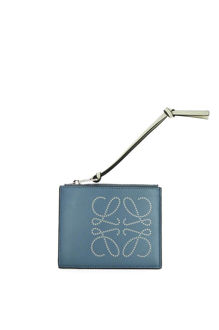 LOEWE Brand coin cardholder in calfskin Storm Blue/Marble Grey pdp_rd