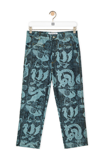 LOEWE Laser Print Fisherman Animals Blue Denim front