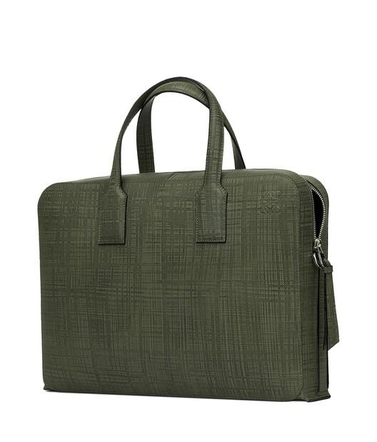 LOEWE Goya Thin Briefcase Khaki Green front