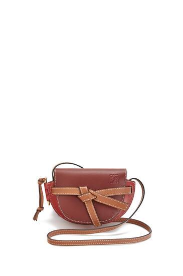 LOEWE Mini Gate Bag In Soft Calfskin Garnet/Pomodoro pdp_rd