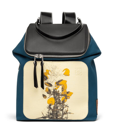 LOEWE Goya Botanical Backpack Petroleum Blue/Black front