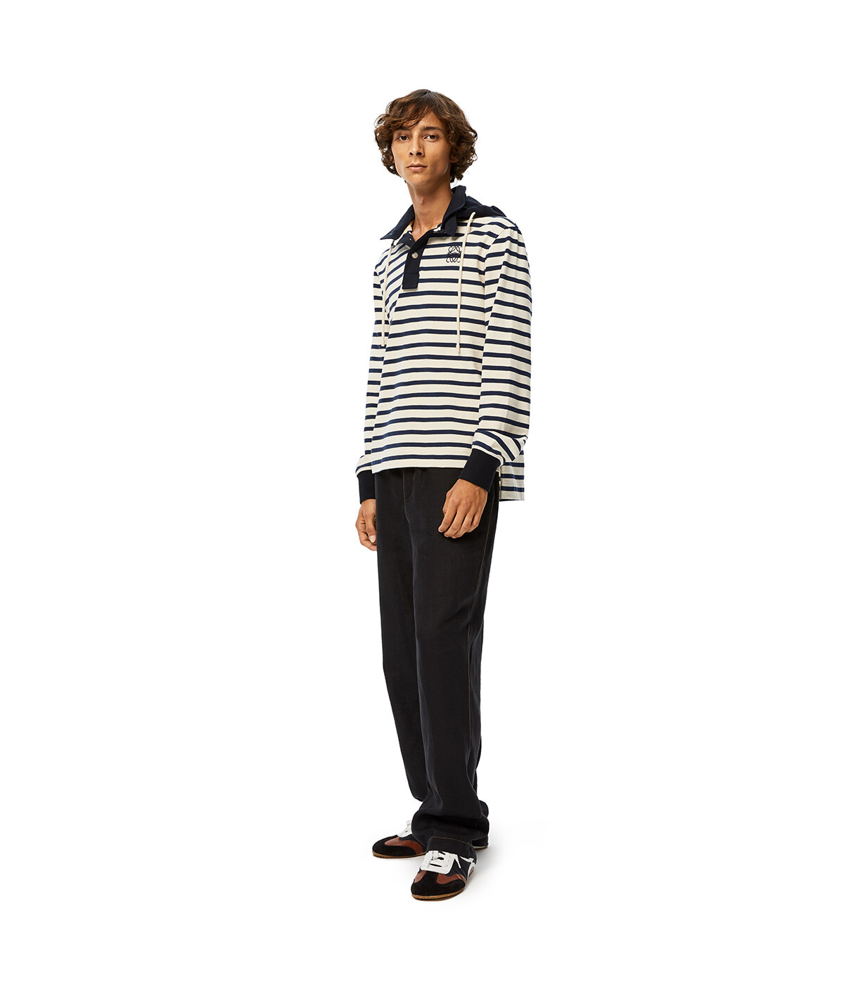 LOEWE Stripe Hooded Polo White/Blue front