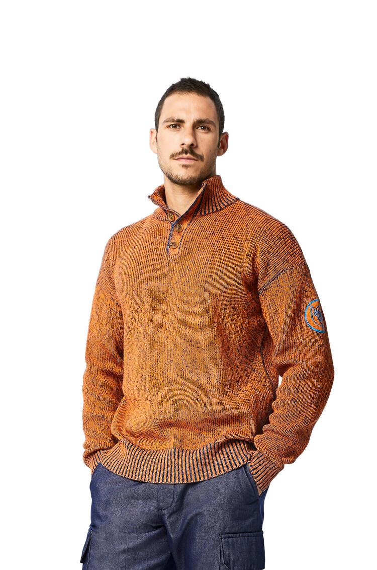 LOEWE Melange high neck jumper in cotton Orange pdp_rd