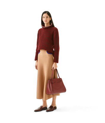 LOEWE High Neck Sweater Pearls Burgundy front
