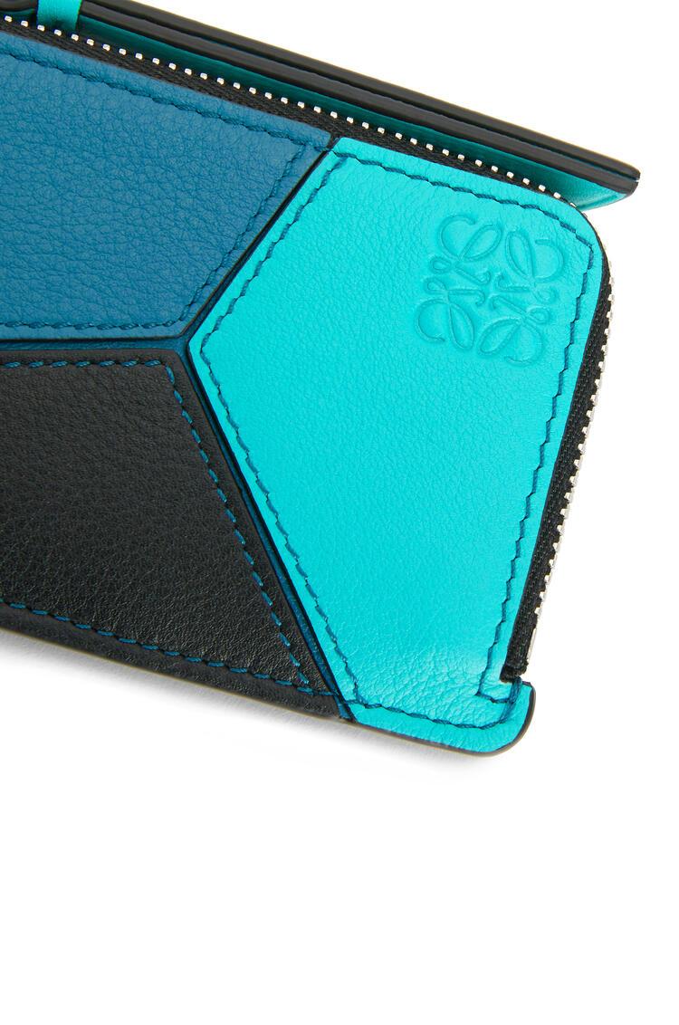 LOEWE Puzzle Coin Cardholder In Classic Calfskin Dark Lagoon/Black pdp_rd