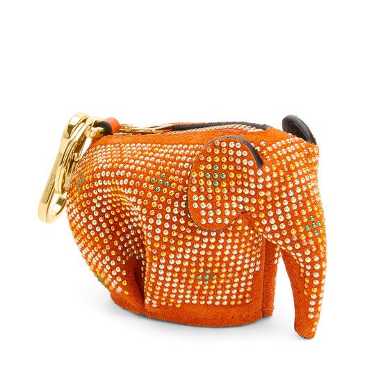 LOEWE Elephant Charm In Micro-Studded Suede orange/multicolour front