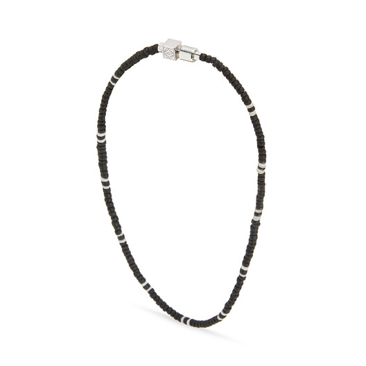 LOEWE Paula Shell Necklace Small Black/Palladium front