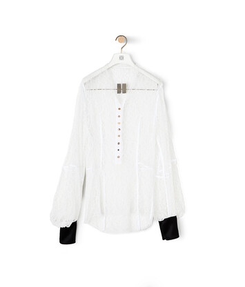 LOEWE Balloon Sleeve Lace Blouse Blanco front