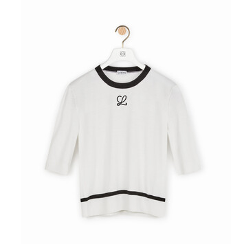 LOEWE Embroidered Cropped Sweater White front